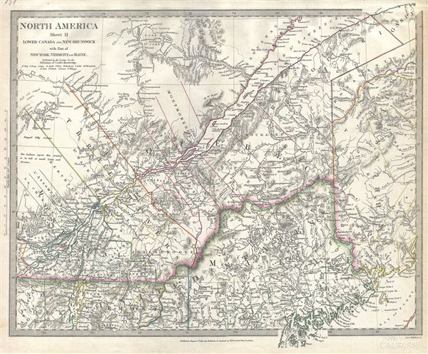 North America Sheet II Lower Canada and New Brunswick with Part of New York, Vermont and Maine.