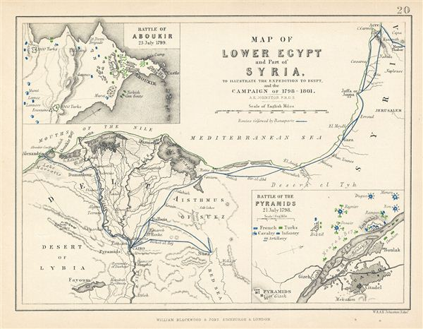 Map of Lower Egypt and Part of Syria.  To Illustrate the Expedition to Egypt, and the Campaign of 1798-1801. - Main View