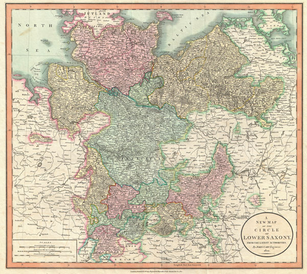 1801 Cary Map of Lower Saxony (Holstein, Lubeck, Lunenburgzell, Bremen, Berlin)