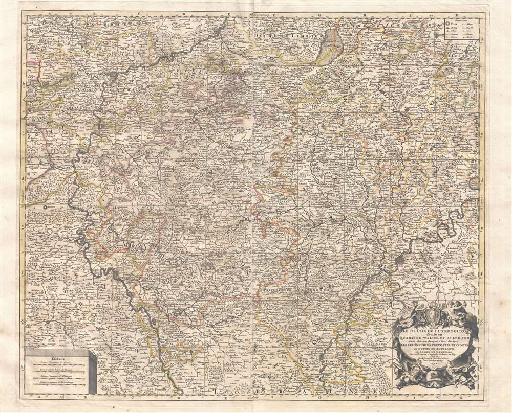 Le duché de Luxembourg divisé en quartier Wallon, et allemand dans chacun desquels sont diviséz les seigneuries, prevostés et comtés, le duché de Bouillon, le comté de Namur, &c.