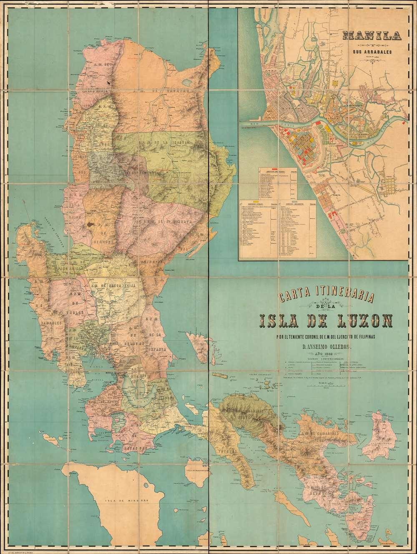 Carta Itineraria de la Isla de Luzon por el Teniente Coronel de E. M. del Ejercity de Filipinas. - Main View