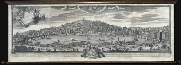 1720 Cleric and Poilly Wall View and Map of Lyon, France