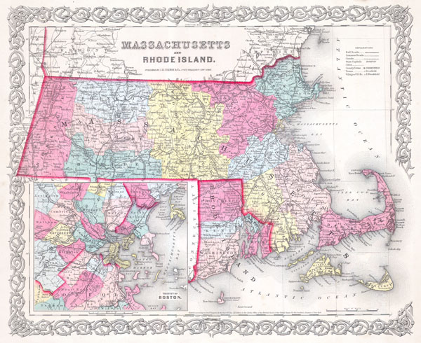 1854 Joseph Colton Map of Rhode Island and Massachusetts