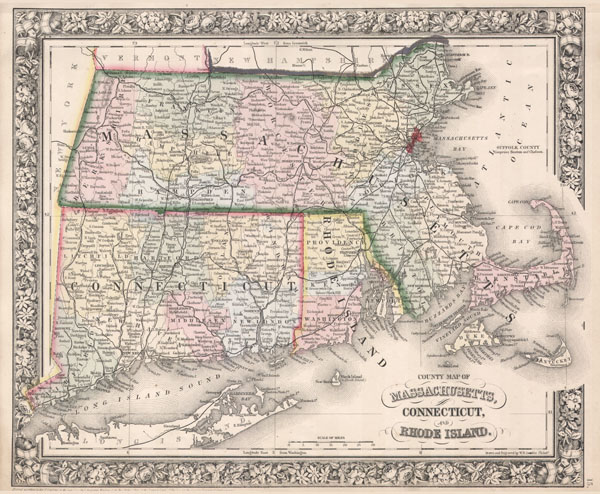 County Map of Massachusetts, Connecticut, and Rhode Island. - Main View