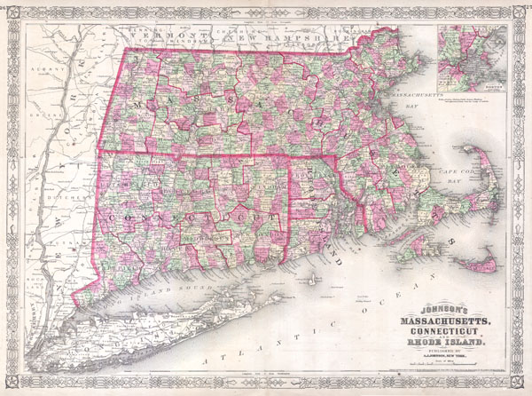 Johnson's Massachusetts, Connecticut and Rhode Island. - Main View