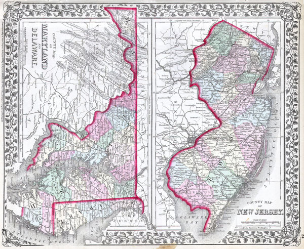 County map of New Jersey.  County map of Maryland and Delaware.