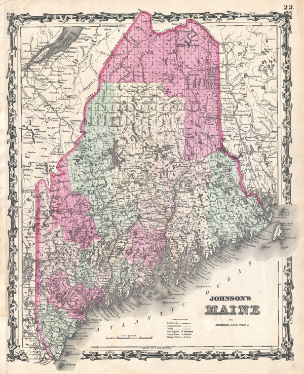 1862 Johnson Map of Maine