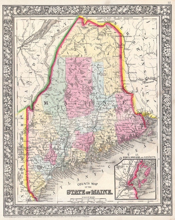 County Map of Maine.