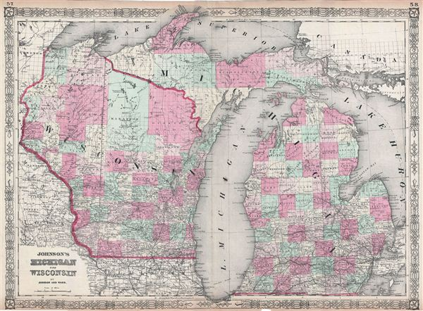 Johnsons Michigan And Wisconsin Geographicus Rare