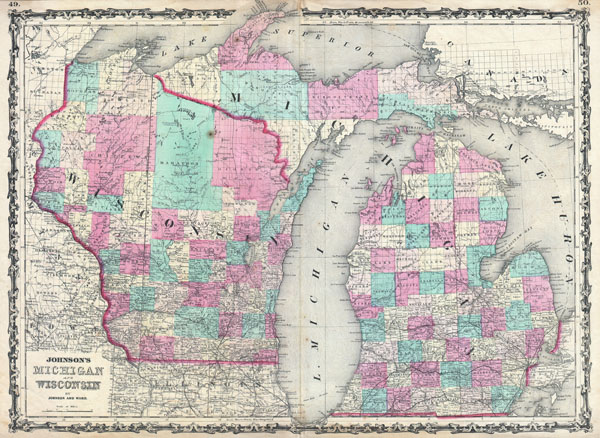 Johnson's Michigan and Wisconsin.: Geographicus Rare Antique Maps