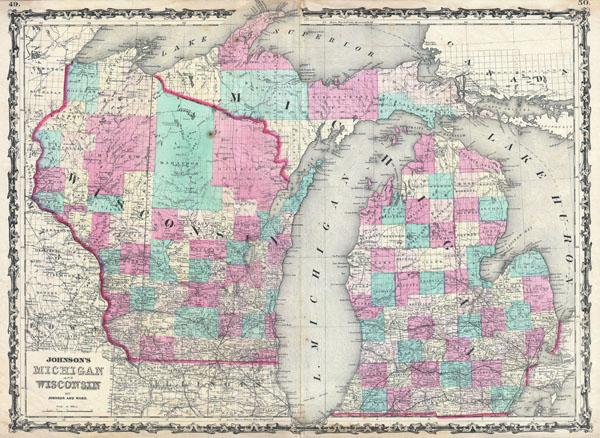 Johnson's Michigan and Wisconsin. - Main View