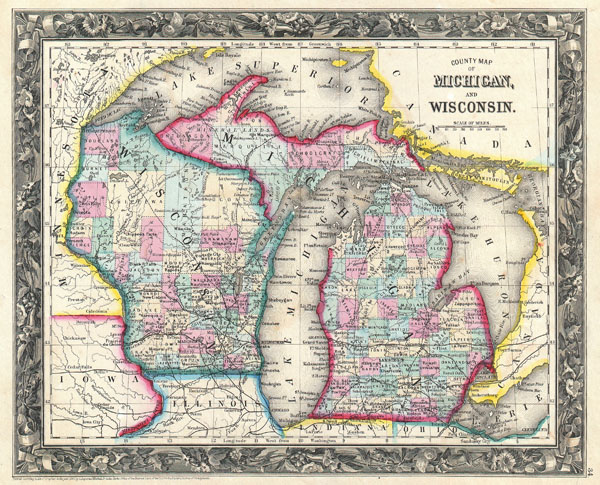 County Map of Michigan and Wisconsin. - Main View