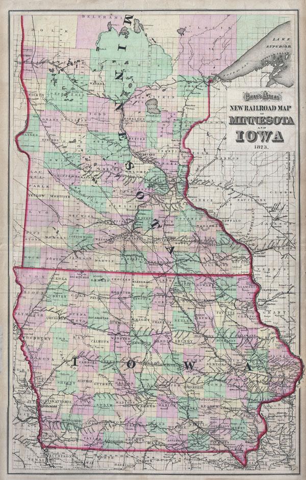 Gray39s Atlas New Railroad Map Of Minnesota And Iowa 1873