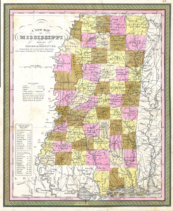 A New Map of Mississippi with its Roads & Distances - Main View