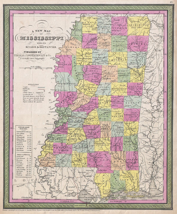 A New Map of Mississippi with its Roads & Distances. - Main View