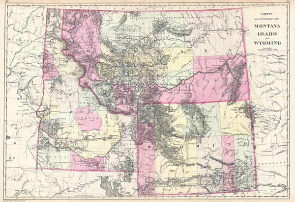 County and Township Map Montana Idaho and Wyoming. - Main View