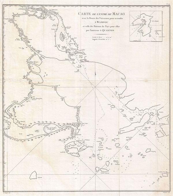 Carte de L'Entre de Macao aved la Route des Vaisseaux pour se rendre a Wampou et celle des Bateaux de Pays pour aller par l'interieur a Quanton. - Main View