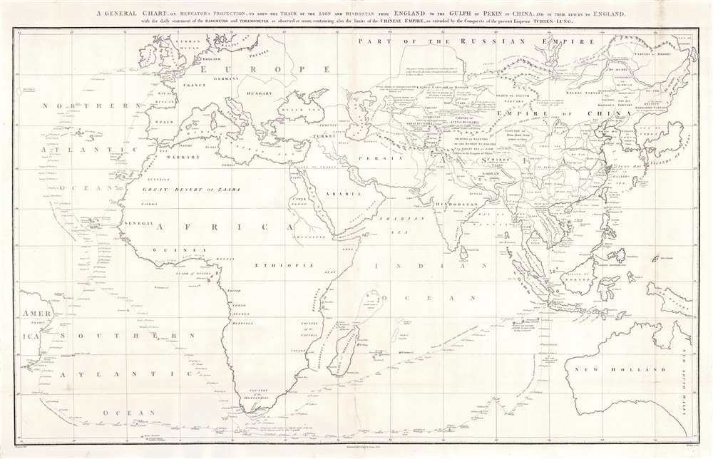 A general chart on Mercators projection to shew the track of the Lion and Hindostan from England to the Gulph of Pekin in China and their return to England.