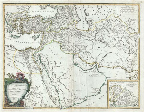 Antiquor? Imperiorum Tabula, in qua prae coeteris, Macedonicum seu Alexandri Magni Imperium et Expeditiones.