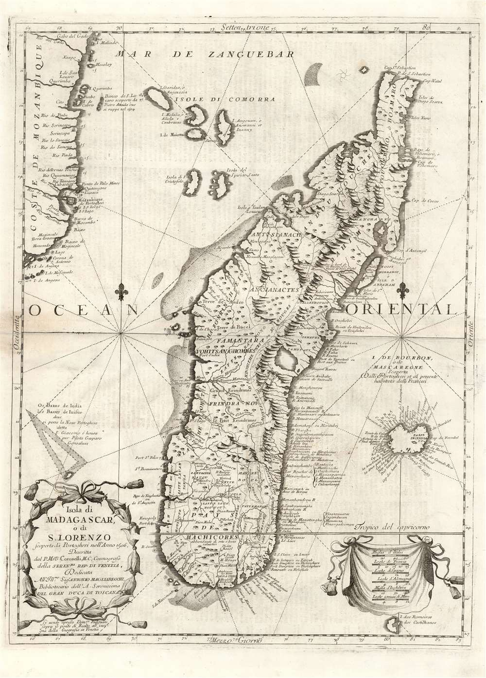 1697 Coronelli Map of Madagascar and part of Southern Africa