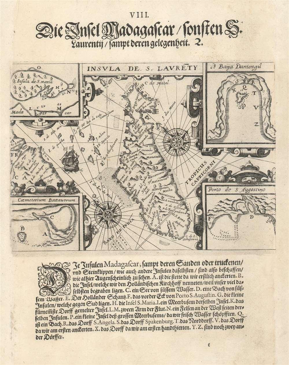 1599 De Bry Map of Madagascar