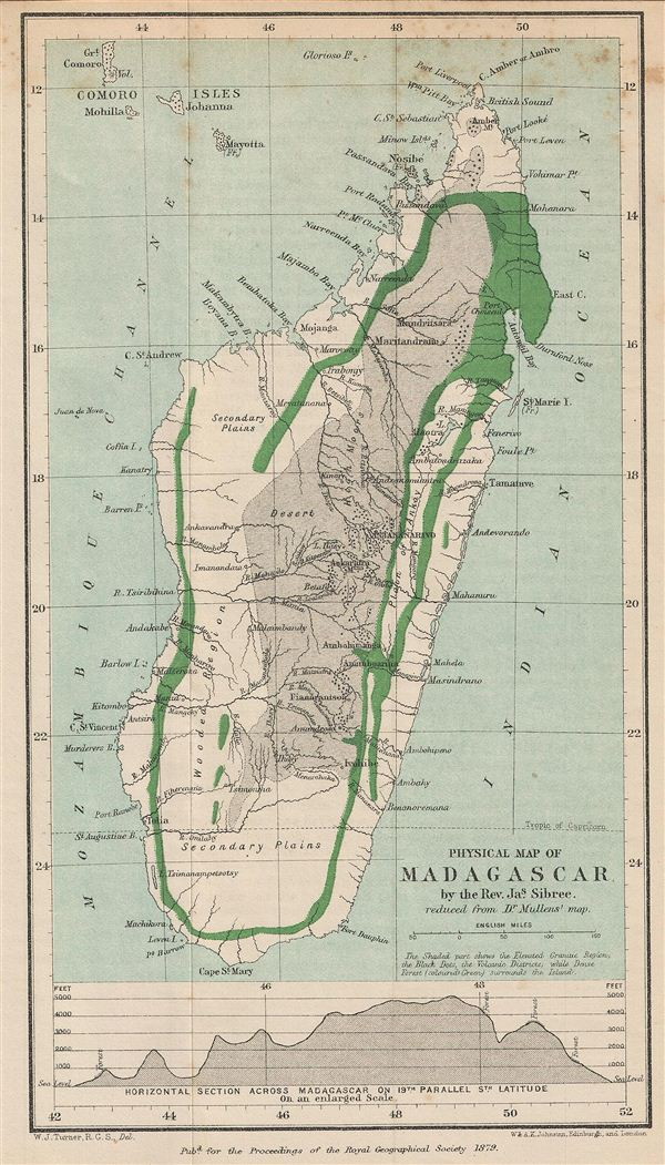 Physical Map of Madagascar.