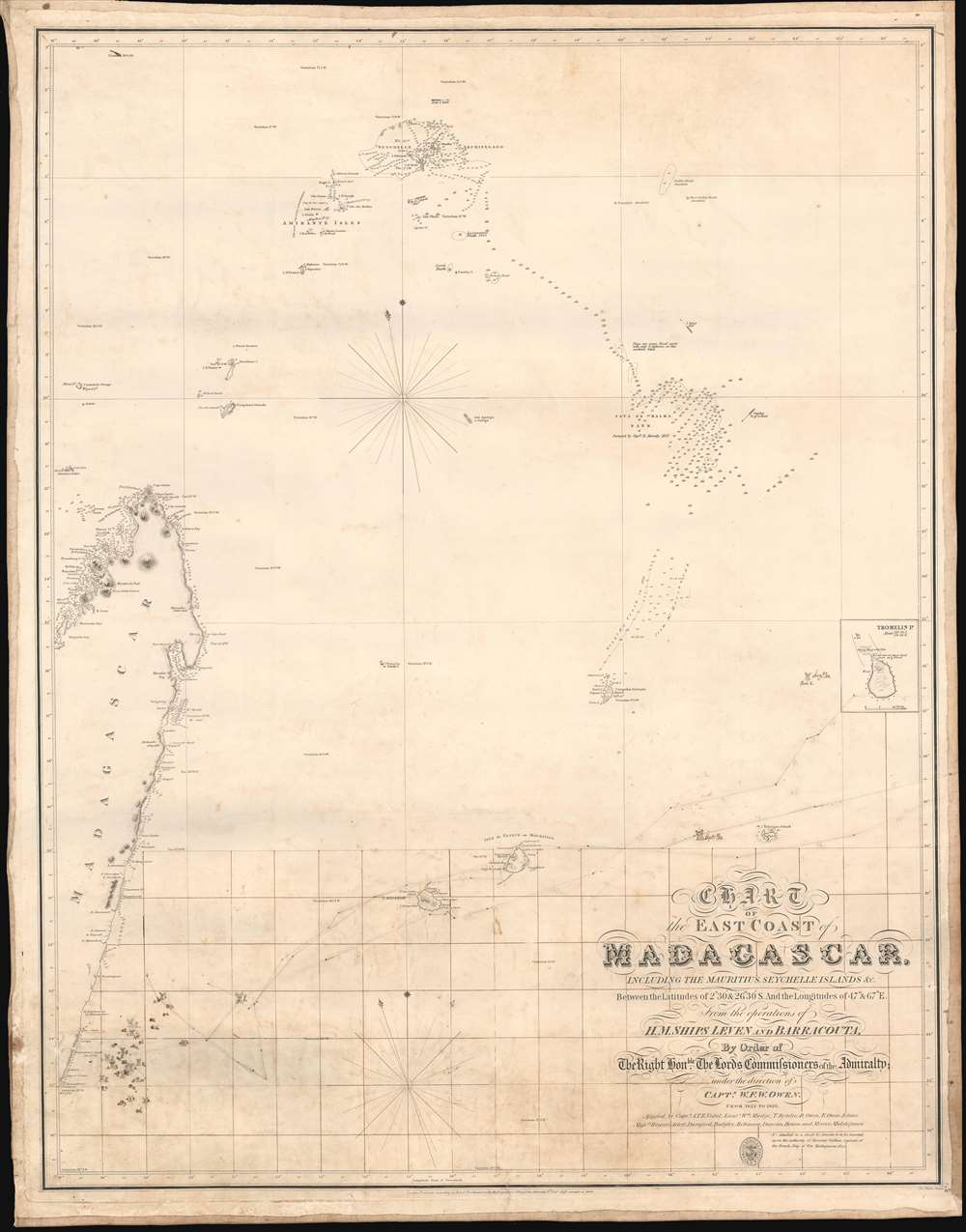 Chart of the East Coast of Madagascar, including the Mauritius, Seychelle Islands and c. - Main View