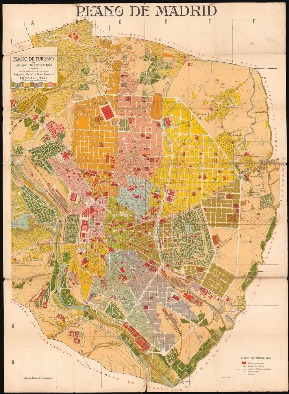 1910 Bisbal and Vassallo City Plan or Map of Madrid, Spain