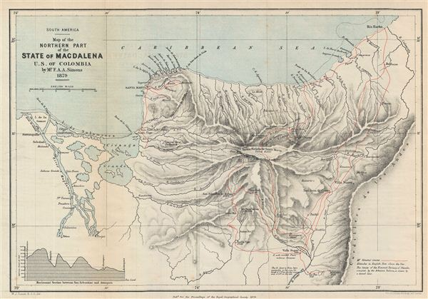 South America.  Map of the Northern Part of the State of Magdalena U.S. of Colombia. - Main View