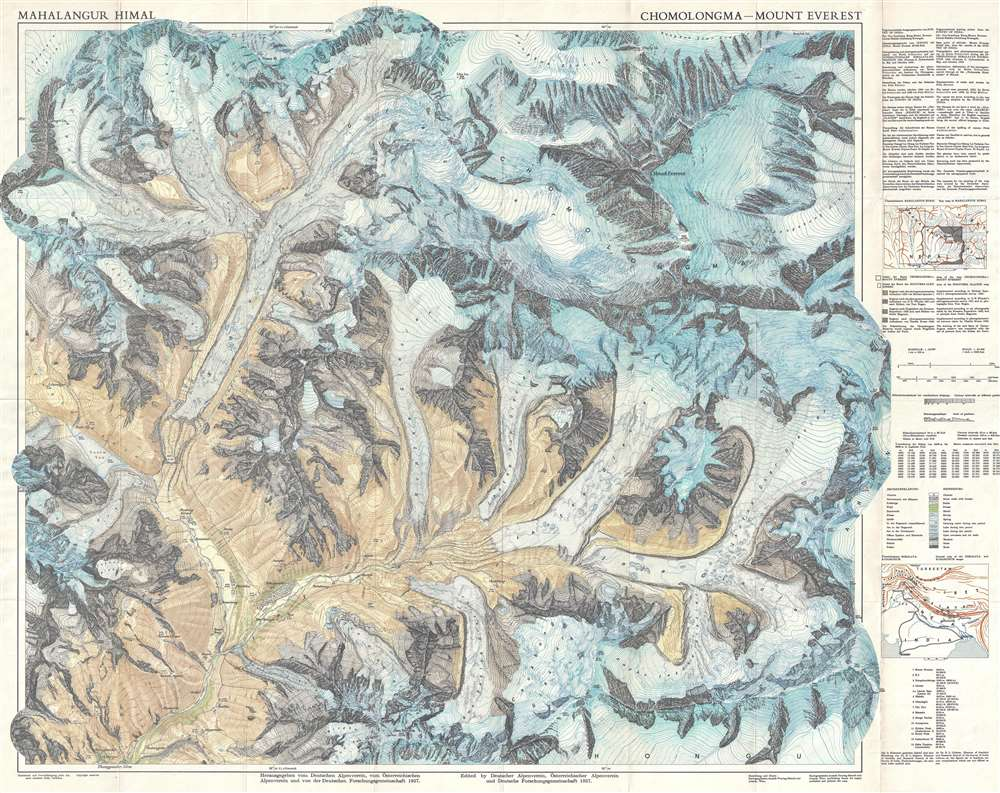 1957 German Alpine Club Map of Mount Everest and Vicinity