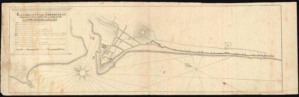 Plan, De, L'Attaque, Des, Retranchemens Et Du Fort De Mahé; Le Iie. Et Le Iiie, Decembre. M.DCC.XXV.