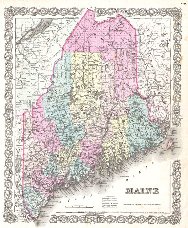 1855 Colton Map of Maine