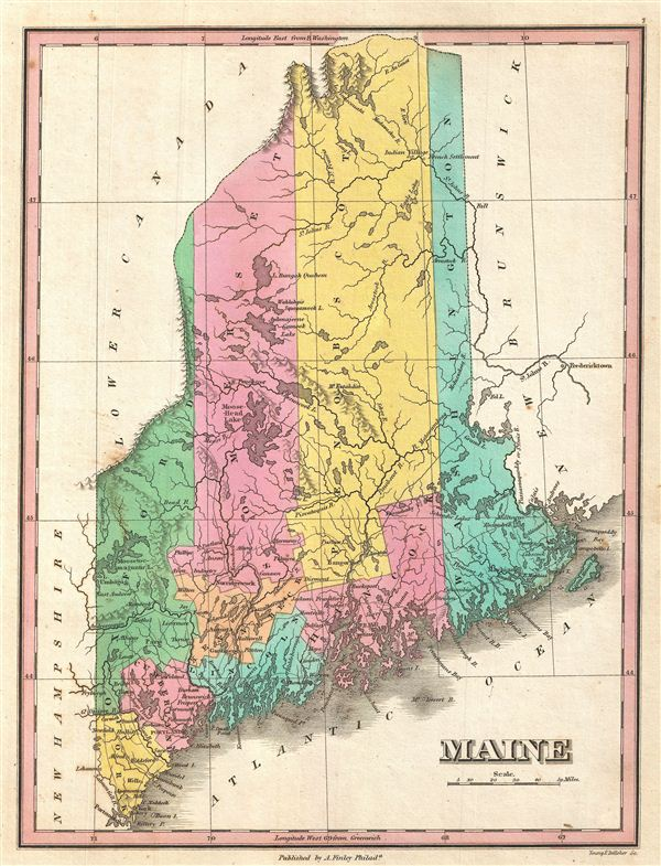 1827 Finley Map of Maine