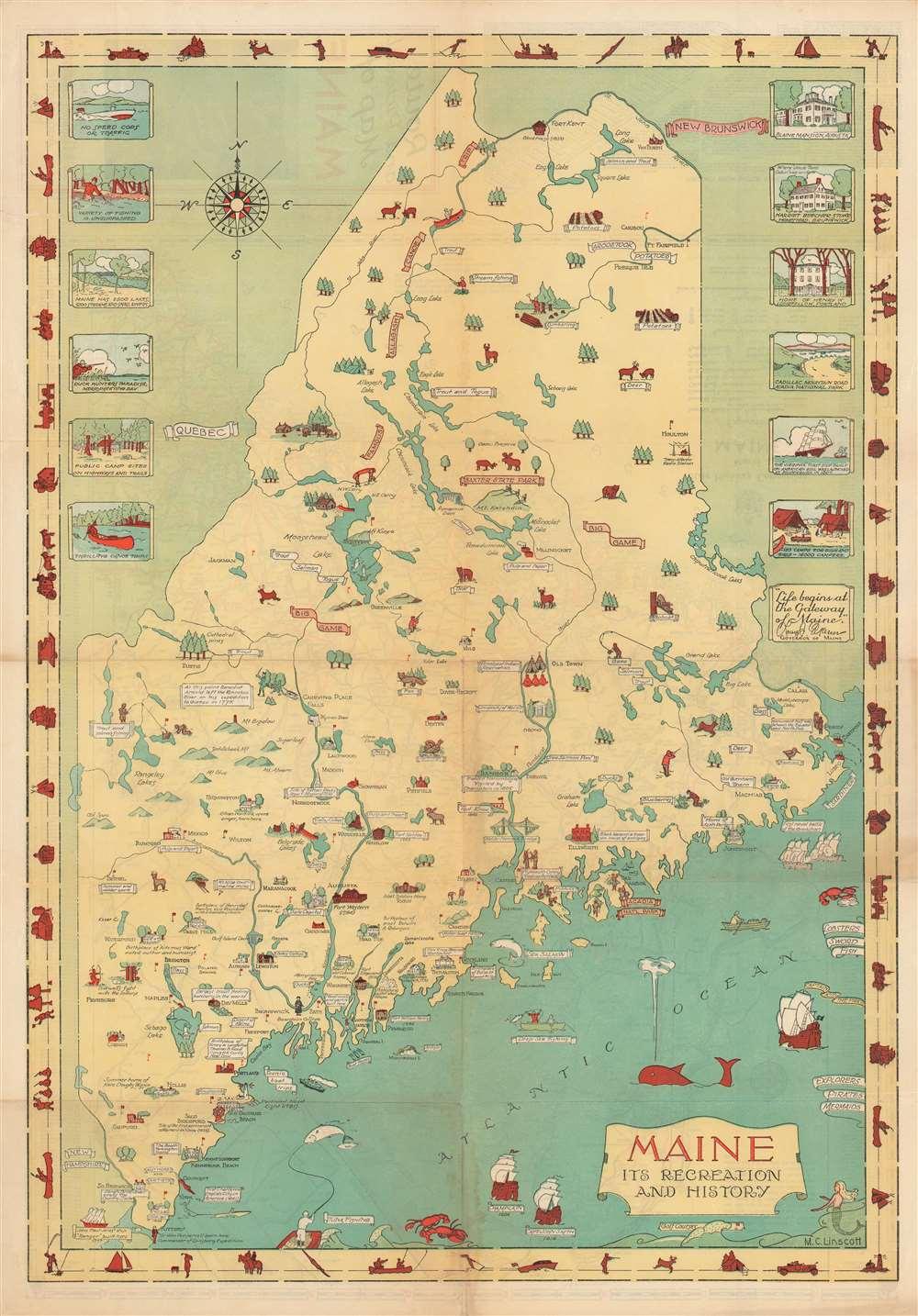 1935 Linscott Pictorial Map of Maine