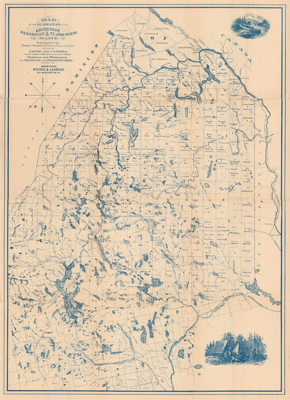 Map of the Headwaters of the Aroostook, Penobscot, and St. John Rivers, Maine. - Main View