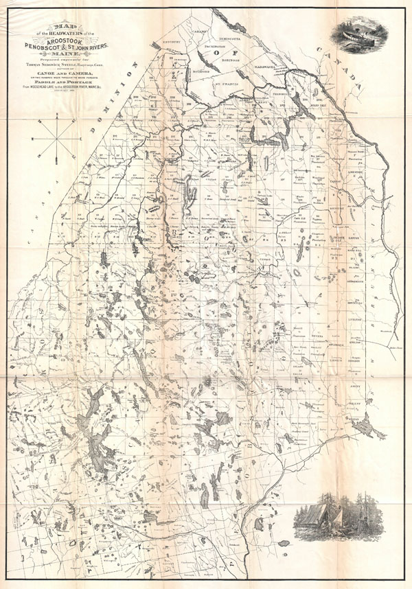 Map of the Headwaters of the Aroostook, Penobscot & St. John Rivers, Maine.