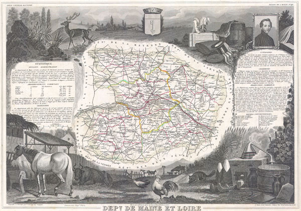 1847 Levasseur Map of Dept. Maine et Loire, France