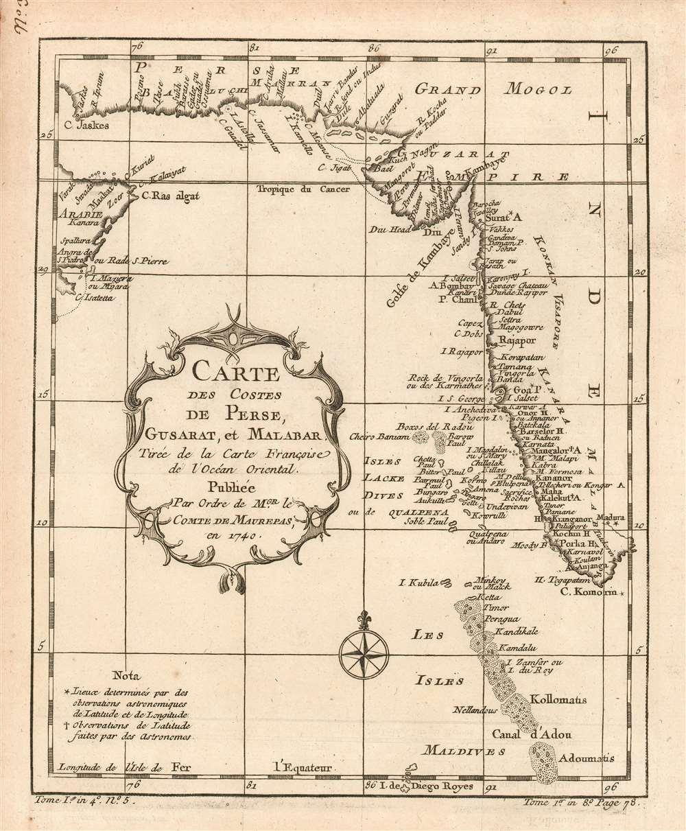 Carte des Costes de Perse, Gusarat et Malabar: Tirée de la Carte Françoise de l'Océan Oriental; Publiée Par Ordre de MGR. le Comte De Maurepas, en 1740. - Main View