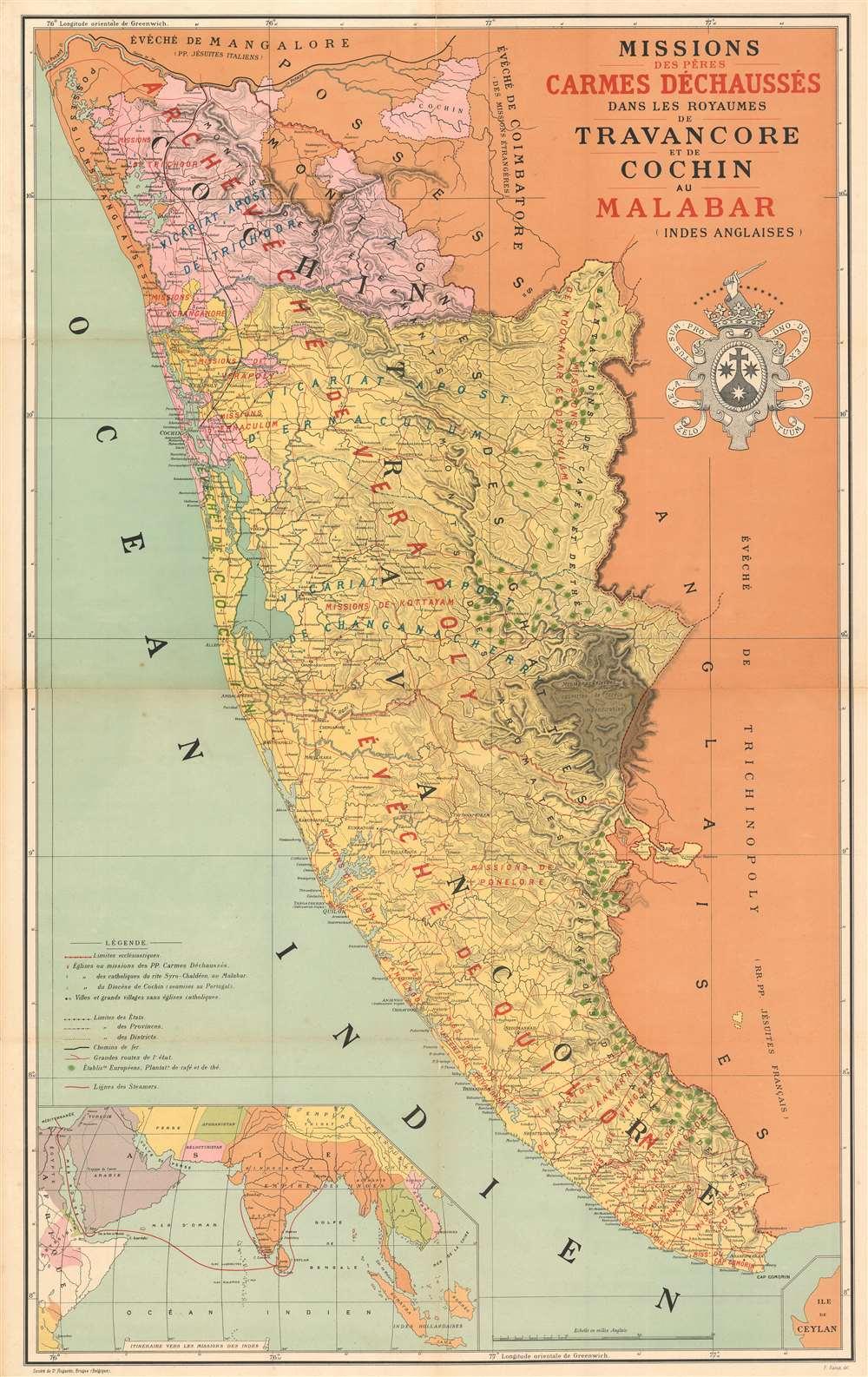 Carte des missions des pères Carmes Déchaussés dans les Royames de Travancore et de Cochin au Malabar (Indes Anglaises). - Main View