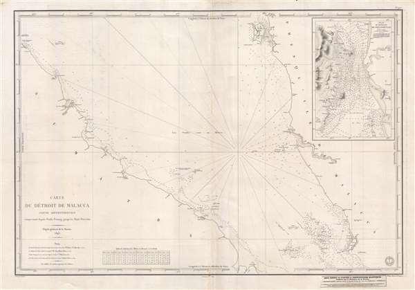 Carte Du Détroit de Malacca Partie Septentrionale comprenant depuis Poulo Penang jusqu'au Mont Parcelar.