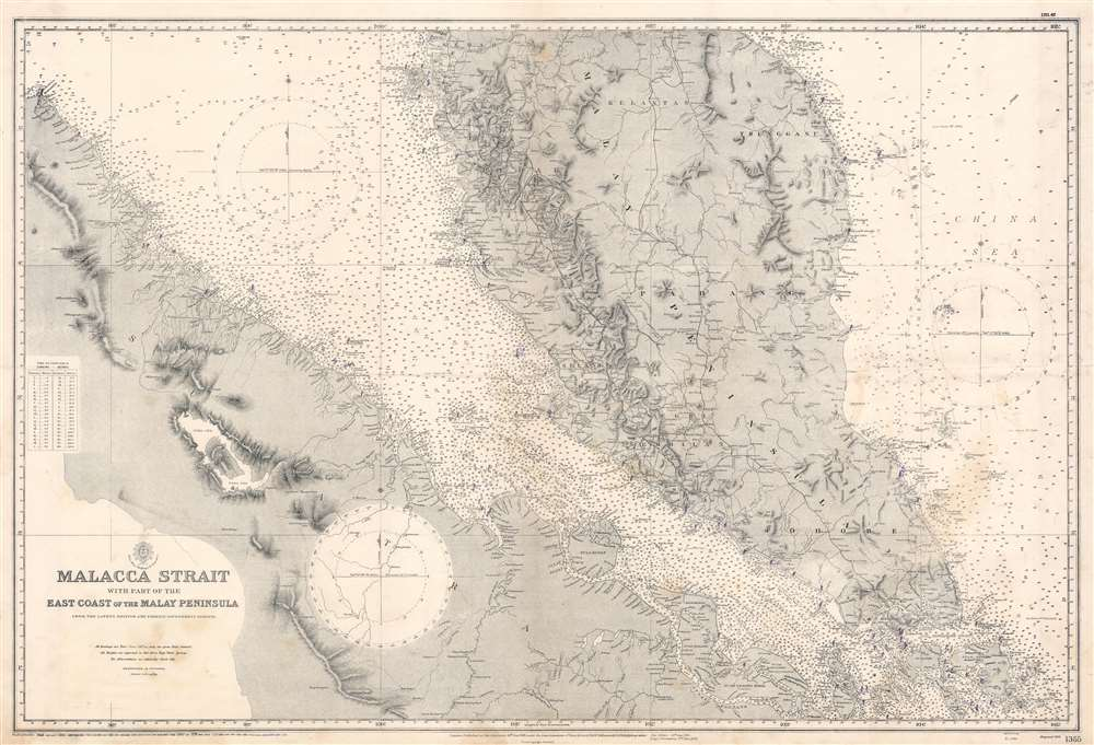 Malacca Strait with part of the East Coast of the Malay Peninsula from the latest British and Foreign Government Surveys. - Main View