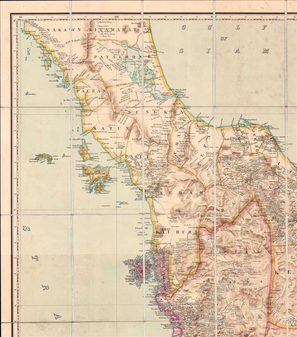 A Map of the Malay Peninsula Compiled by and Published for The Straits Branch of the Royal Asiatic Society Singapore. - Alternate View 2