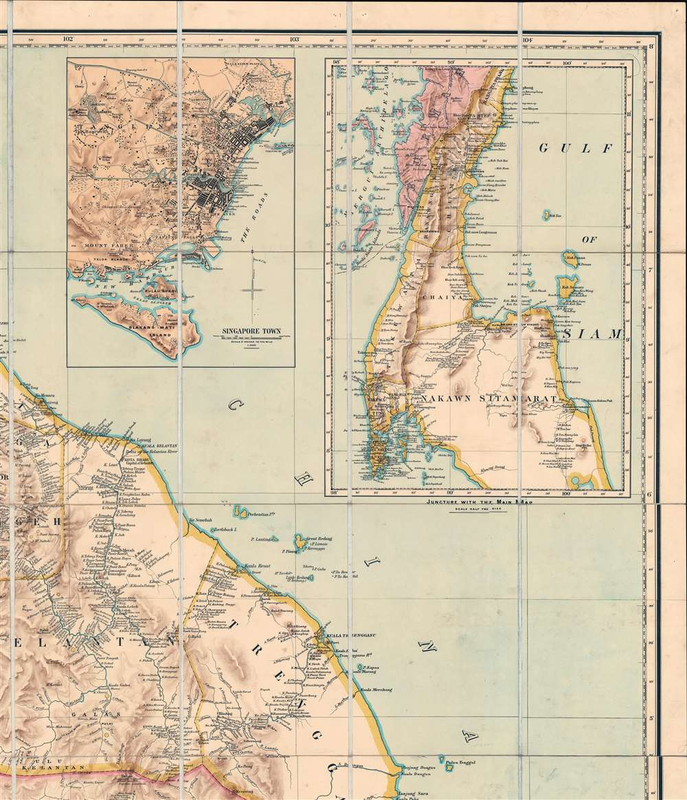 A Map of the Malay Peninsula Compiled by and Published for The Straits Branch of the Royal Asiatic Society Singapore. - Alternate View 3