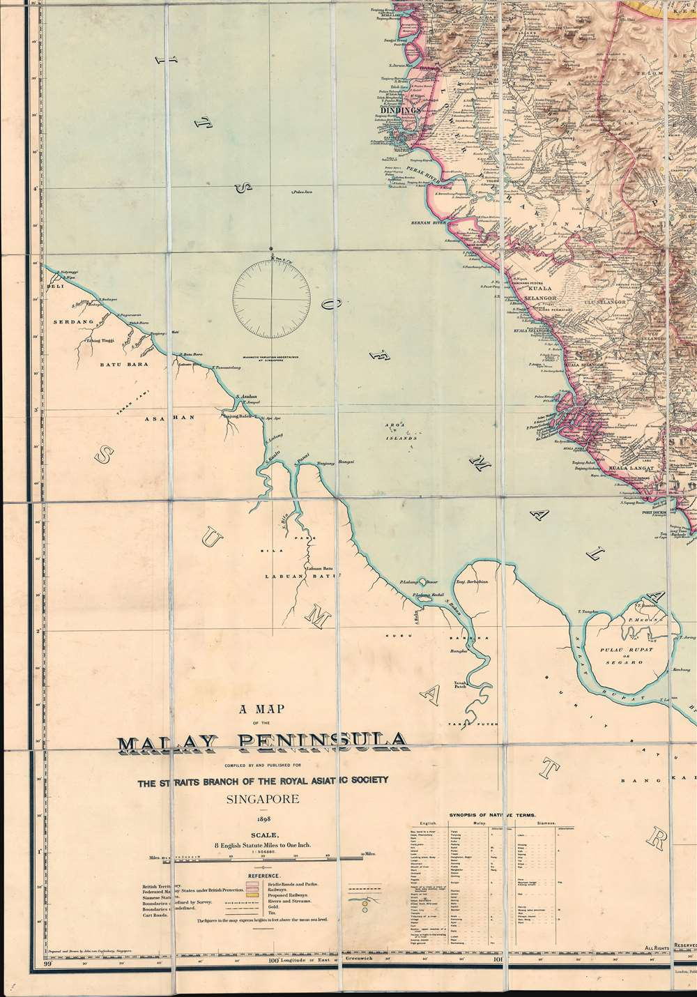 A Map of the Malay Peninsula Compiled by and Published for The Straits Branch of the Royal Asiatic Society Singapore. - Alternate View 4