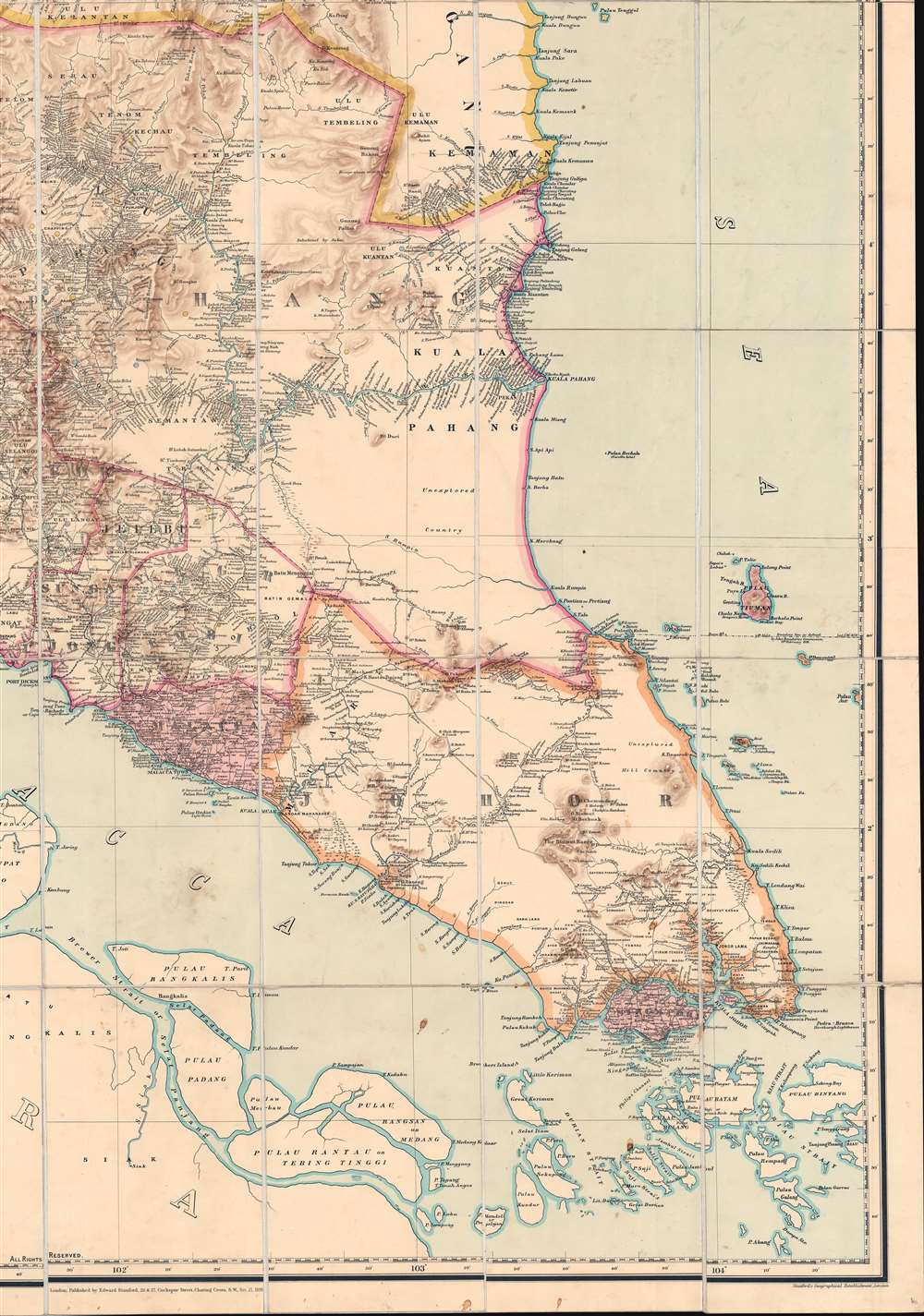 A Map of the Malay Peninsula Compiled by and Published for The Straits Branch of the Royal Asiatic Society Singapore. - Alternate View 5