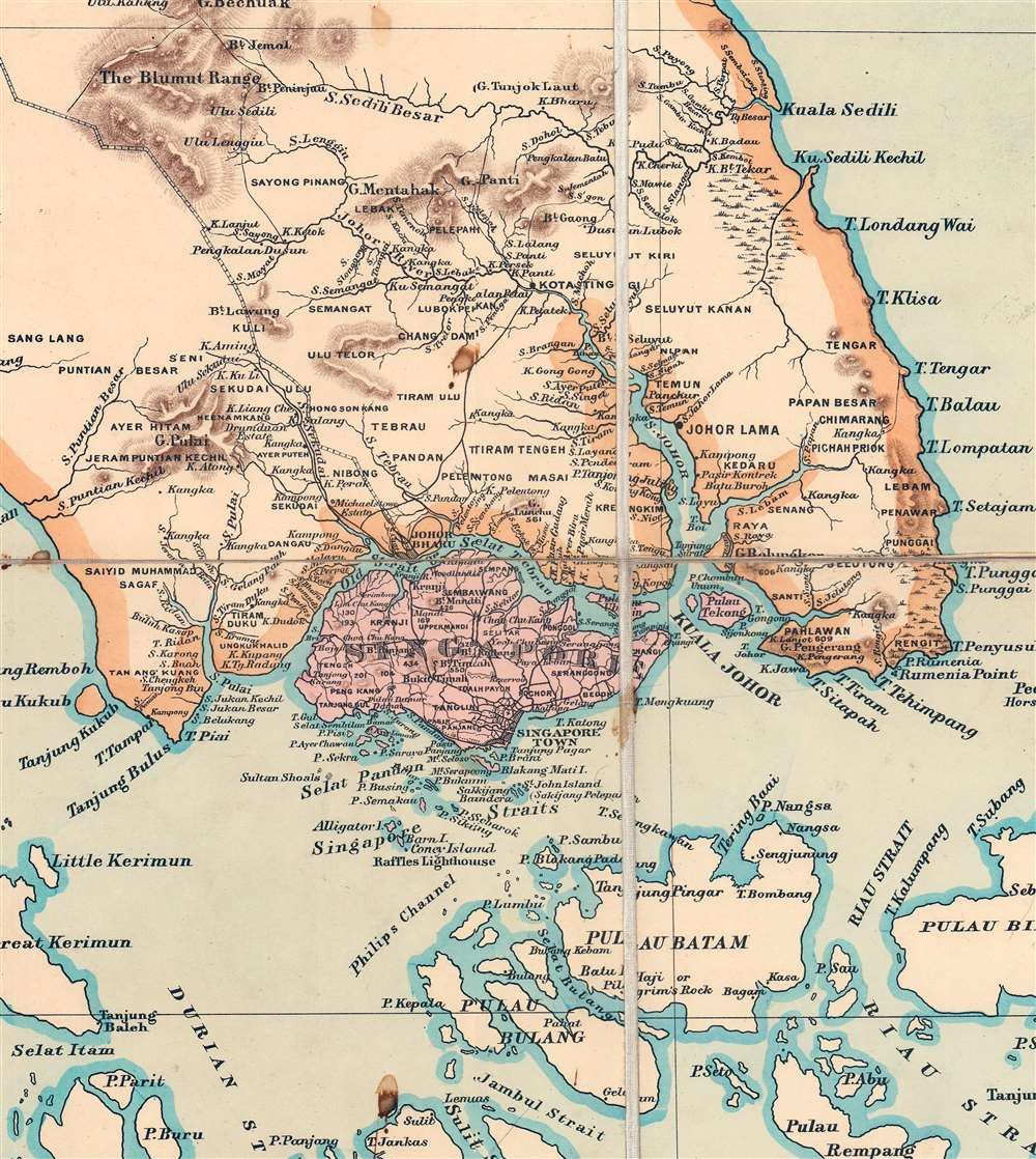 A Map of the Malay Peninsula Compiled by and Published for The Straits Branch of the Royal Asiatic Society Singapore. - Alternate View 7