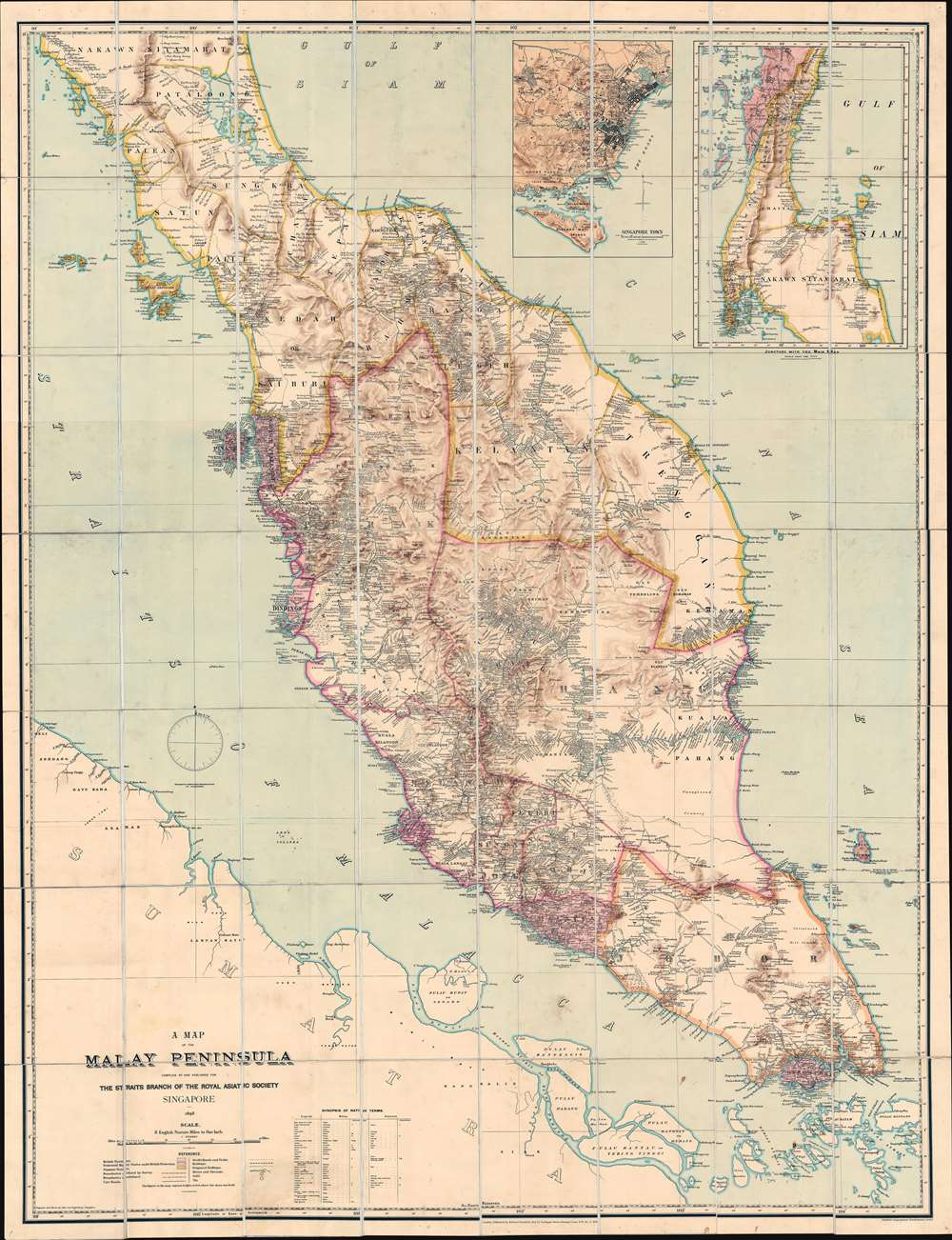 A Map of the Malay Peninsula Compiled by and Published for The Straits Branch of the Royal Asiatic Society Singapore. - Main View