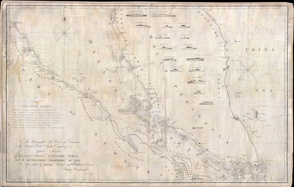 To the Honourable The Court of Directors of the United East India Company This Chart of Malacca Strait Singapore Strait and the Southernmost Promontory of Asia Is Inscribed by Their Faithful and Obedient Servant James Horsburgh.