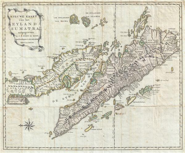 Nieuwe Kaart van het Eyland Sumatra, uitgegeeven by C. H. Bohn en Zoon, Boekverkopers te Haaarlem MDCCLXXXIII.