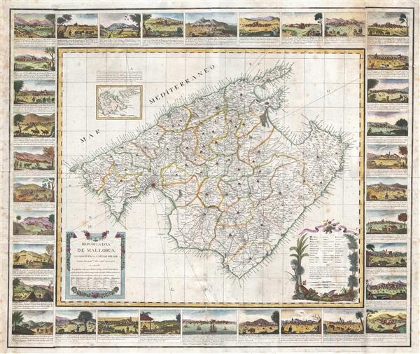 Mapa de la Isla de Mallorca sacado en escala menor del que publico el E.S. Cardenal Despuig El Año 1785.